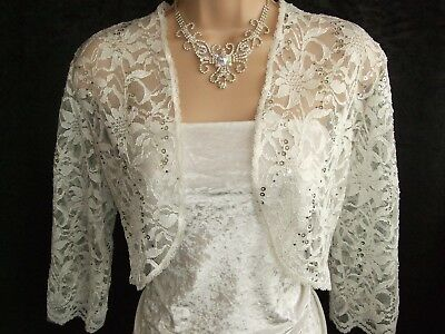 Glitzy Ivory Sequinned Stretch Lace Shrug / Bolero - Sizes 10 To 24 - Wedding