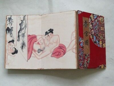 Collectible Shunga hand Drawing Erotic lust Chinese Body Art old book Love