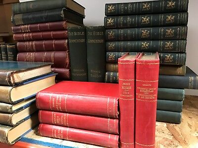 Lot of 10 Red Antique Books Leather / Linen Decorator Set MIXED LOT UNSORTED