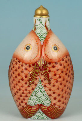Chinese Red Porcelain Handmade Painting Double Fish Statue Snuff Bottle