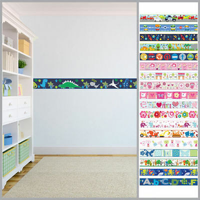WALLPAPER BORDERS CHILDREN\'S Kids Nursery Boys Girls Bedroom Wall ...