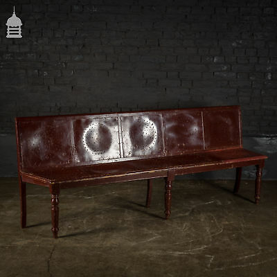 Late 19th C Painted Waiting Room Bench with Turned Legs