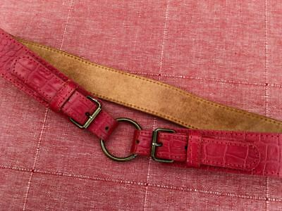 Vintage 1970s Retro Womens 38mm Red Leather & Brass Belt to fit waist 76 - 84cm