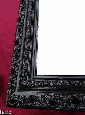 Wall Mirror 43x36 Mirror Baroque Rectangular Black Picture Frame Arabesco 4
