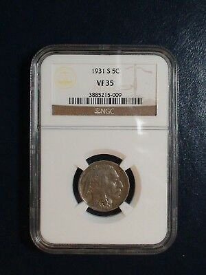 1931 S Buffalo Nickel NGC VF35 5C Coin Auction Starts At 99 Cents!