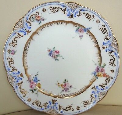 Beautiful 18th Century Sevres Floral Porcelain Plate - 1758 Signed