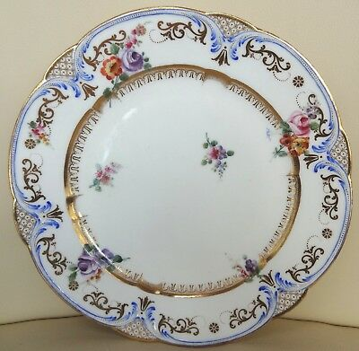 Beautiful 18th Century Sevres Floral Porcelain Plate - Oe Painters Mark 1757