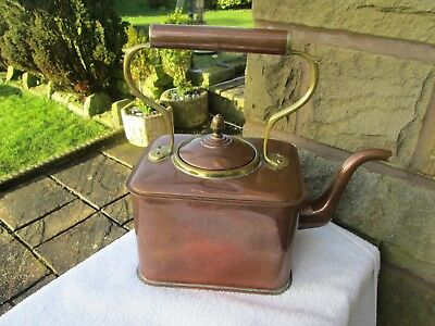 Beautiful Ornate Solid Copper & Brass Square Kettle 7 Pints/swan Neck/acorn Top