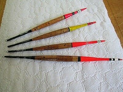"4 x Vintage HARCORK Fishing Floats. Three 6"" and One 7"". Cork Bodied. See Pics"