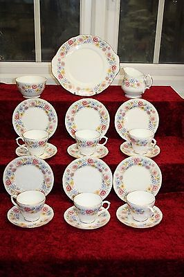 Beautiful Vintage Royal Sutherland H M China Tea Set Multi Floral 21 Pieces
