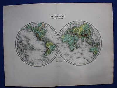 Original antique map WORLD in HEMISPHERES, ELEVATION ABOVE SEA, Migeon, 1891