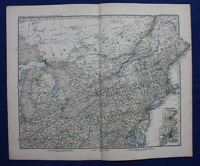 N. AMERICA, OHIO, PENNSYLVANIA, GREAT LAKES, original antique map, Stieler 1880