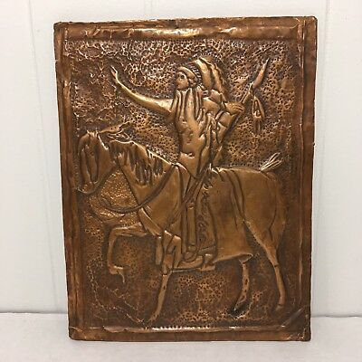 Arts & Crafts Style Native American Indian Hammered Copper on Board Folk Art