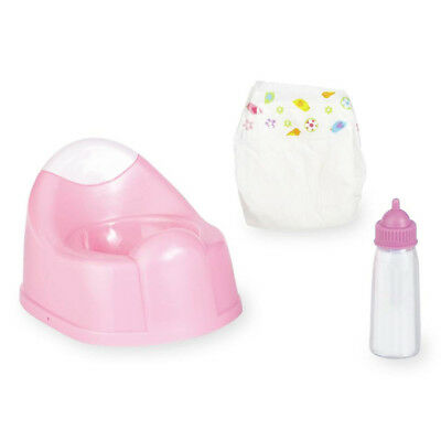 Baby Doll Care Play Set Potty Milk Bottle Nappy Girls Playset Pretend Play Toy