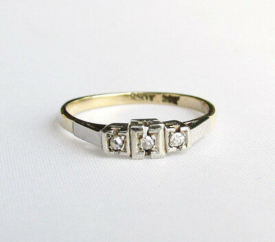Old antique Art Deco 9ct gold & plat diamond ring size N