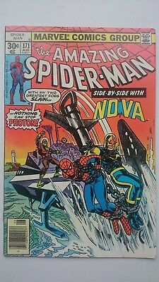 Amazing Spiderman # 171  Fn/vf  Nova Story  Cents  1977