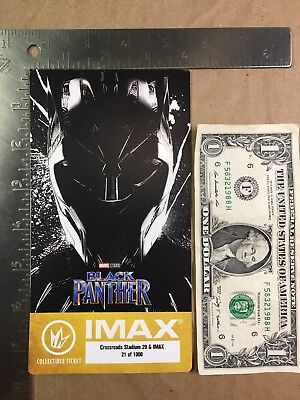Black Panther 2018 Regal IMAX Collectible Ticket Marvel Studios Chadwick Boseman