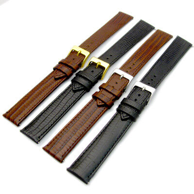 Extra Long XL Leather Watch Band Lizard Grain (Flat Profile)16mm 18mm 20mm D017