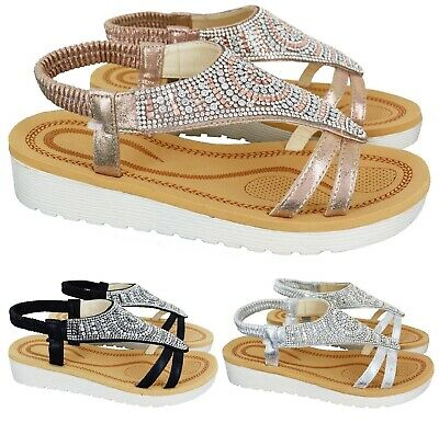 Ladies Womens Summer Comfort Diamante Flat Low Heel Wedge Sandals Shoes Size