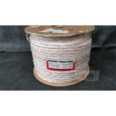 CWC 326035 600ft PolyDac Truck Rope 5/8in 3-Strand White w/ Orange Tracer*