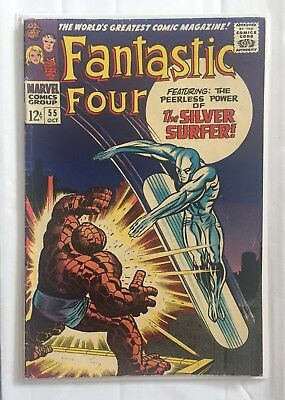 FANTASTIC FOUR # 55 4th App SILVER SURFER 12c 1966 SILVER AGE MARVEL COMIC BOOK