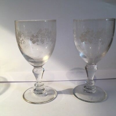 Pair Of Antique Victorian Hand Painted Wine  Glasses