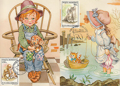 Gala signed maxi cards postcards Romania children dogs & cats pets caricatures