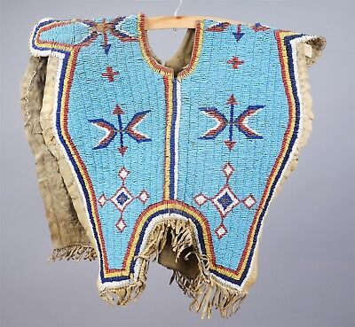 Antique American Indian Glass & Steel Beadwork Leather Vest At Least Early 20c