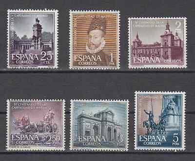 Spain (1961) New Free Stamp Hinges Mnh Spain -Scot 1388/93 Capital Madrid