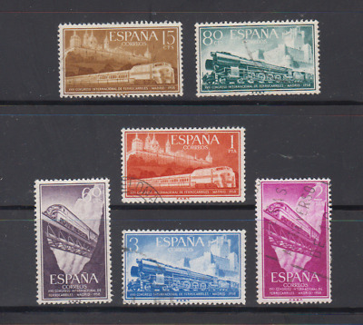 SPAIN (1958) USED SPAIN - EDIFIL 1232/37 Sc# 887/92 TRAINS