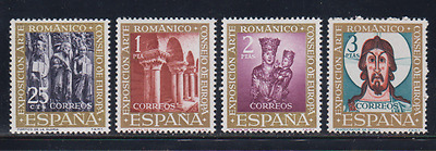 Spain (1961) Series New Free Stamp Hinges Mnh Spain -Scot 1365/68 Art Romanesque
