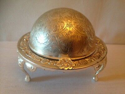Vintage Silver Plate & Cut Glass Dome Roll Top Footed Butter/cavair Dish