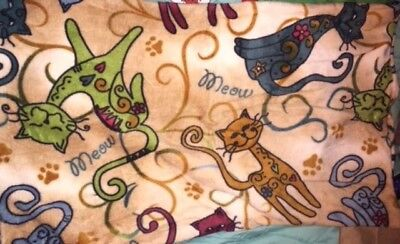 Two BRAND NEW Fleece Pillow Shams with Adorable KITTY CATS