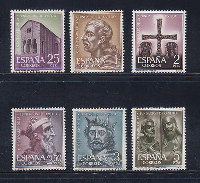 Spain (1961) New Free Stamp Hinges Mnh Spain -Scot 1394/99 Oviedo Foundation
