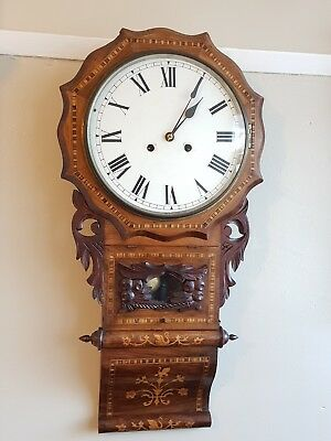 Antique Inlaid American Wall Clock Circa 1900 Working Order