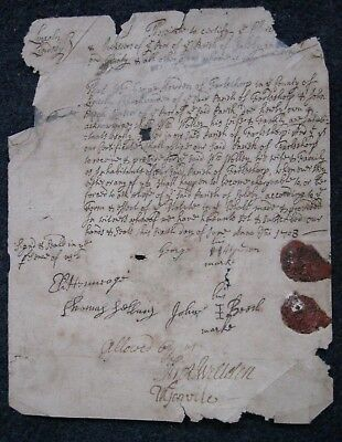 Antique 18thc Document 1708 Howden & Wolley of Farlsthorp Lincolnshire tatty