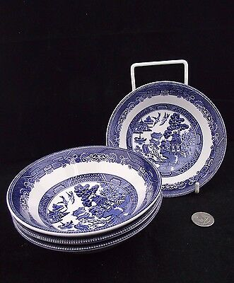 """4  lot  6""""  CEREAL BOWLS BLUE WILLOW  JOHNSON BROTHERS"""