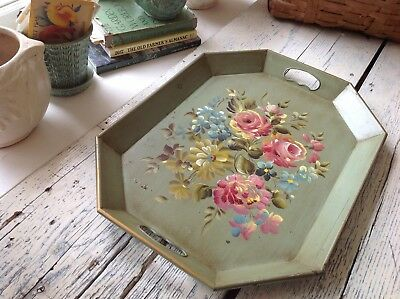 Gorgeous Vintage Antique Green Tole Tray Hand Pained Pink Cabbage Roses Nashco
