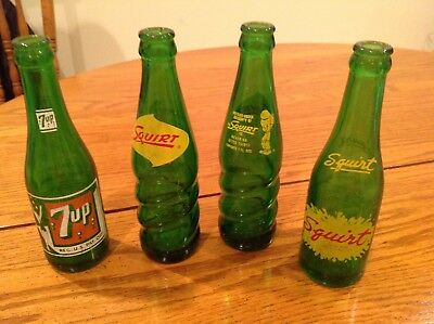 VINTAGE SQUIRT (3) and 7 UP (1) SODA POP BOTTLES