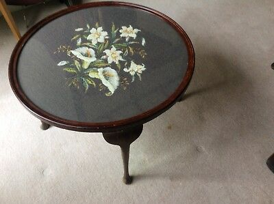 Antique needlepoint and dark wood round table - claw feet - London area
