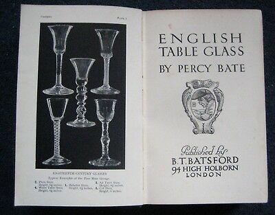 English Table Glass by Percy Bate 1913 Antique Book 67 pages of illustrations