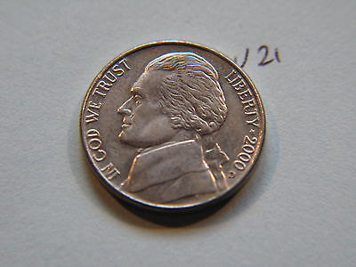 2000 D Nickel 5c Five Cent coin, Jefferson 5 cents USA