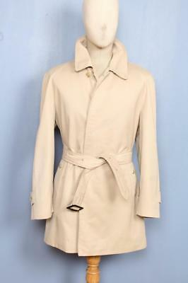 SUPERB Mens BURBERRY Single Breasted Short TRENCH Coat Mac Beige 42/44 Large