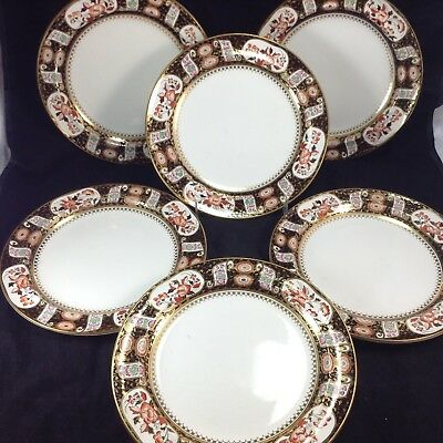 Set of 6 Antique Wedgwood Chinoiserie Design Red Flowers Gold Dinner Plates Lot