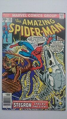 Amazing Spiderman # 165  Vf+  Vs Reptile-Men  Cents  1977
