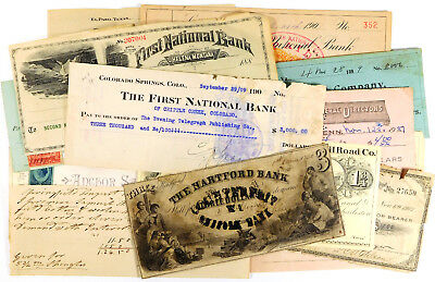 1818 - 1927 United States Banknote & Check Lot - 40 Checks & Notes!