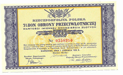POLAND 20 Zlotych 1939 War Savings bond for anti-aircraft defense UNC