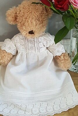 Vintage baby nightdress white cotton broderie anglais