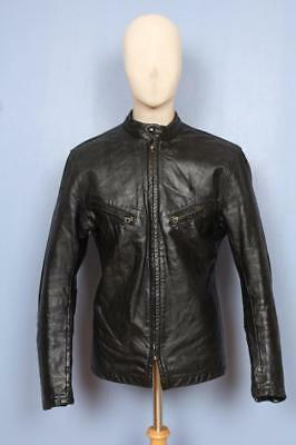 Stunning Vtg 50s HORSEHIDE Cafe Racer Leather Motorcycle Jacket Small/Medium