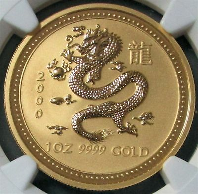 2000 Gold Australia $100 Lunar Year Of The Dragon 1 Oz Coin Ngc Mint State 69